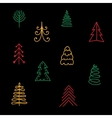 Hand drawn Christmas trees on black background vector image vector image
