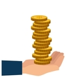 hand holding a money coins vector image vector image