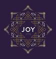 Happy new year 2016 frame art deco joy card line vector image