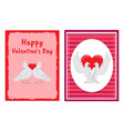 happy valentines day postcards with doves couples vector image vector image