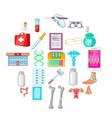 hospital icons set cartoon style vector image vector image
