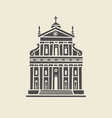 icon or stencil a stylized old building facade vector image