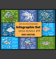isometric set infographics concept blocks vector image vector image