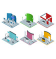 isometric set promotional stands or exhibition vector image