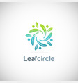 leaf circle organic logo vector image vector image