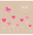 love card Heart flowers Butterfly Iluustration vector image vector image