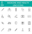 medicine and health line icon set medical symbols vector image vector image