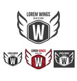 modern wings shield template logo design vector image vector image