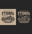 monochrome bobber motorcycle label vector image vector image