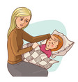 mother worries about her ill daughter vector image