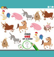 one a kind game for kids with cartoon farm vector image vector image