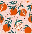 pomegranate leaf seamless pattern red garnet vector image