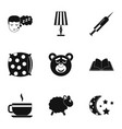 preparation to sleep icon set simple style vector image vector image