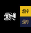 s and n combination lines letter logo creative