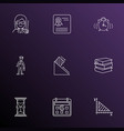 school icons line style set with alarm female vector image