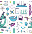 seamless pattern with chemical and physical lab vector image vector image
