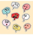 Set of comic bubbles face Emoji emoticon smiley vector image