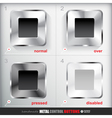 Set of four positions of Circle Metal Stop Button vector image vector image