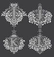 set of ornamental monogram in coats of arms form vector image vector image