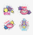 set rocket with fashion mouth and chat bubble vector image