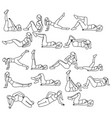 set woman doing abdominal exercises on mat in gym vector image vector image