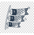 silhouette icon of kites in the form of fish vector image vector image