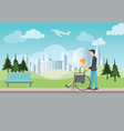 smart man pushing wheelchair with disabled woman vector image