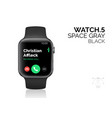 smart watch with black bracelet realistic vector image vector image