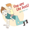 Son riding on his fathers back Hand drawn style vector image vector image
