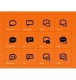 speech bubble icons on orange background vector image