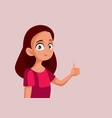 teen girl with thumbs up cartoon vector image vector image