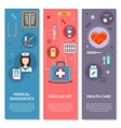 Three medical vertical banners with medical icons vector image vector image
