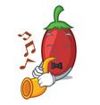 with trumpet goji berries mascot cartoon vector image