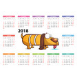 yellow dog - calendar 2018 year vector image