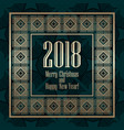 2018 new year greeting card in art deco golden vector image vector image