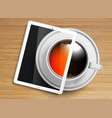 a cup of coffeetea with a tablet vector image vector image