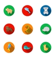 Animals set icons in flat style Big collection of vector image