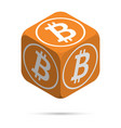 bitcoin orange bitcoin cube vector image