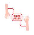 blood donation with simple hands vector image