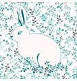 blue and white rabbit on flower background vector image vector image