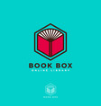 book box logo online read digital library vector image vector image