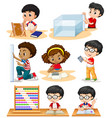 boys and girl doing math problems vector image vector image