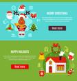 christmas holidays horizontal banners vector image vector image