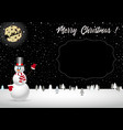 christmas night landscape with snowman and santa vector image