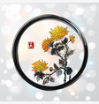chrysanthemum flowers in black enso zen circle on vector image vector image