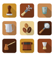 coffee barista instruments icons set vector image vector image