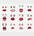 comic emotions women facial expressions gestures vector image vector image