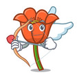 cupid poppy flower character cartoon vector image