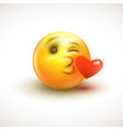 cute feeling in love emoticon isolated on white vector image vector image