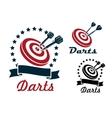 Darts sporting symbols and emblems vector image